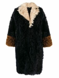 Marni colour block fur coat - Blue