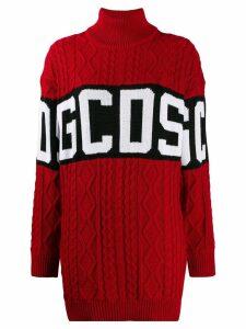 Gcds knitted logo dress - Red