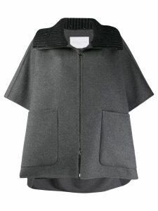Fabiana Filippi ribbed collar coat - Grey