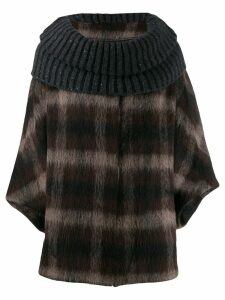 Fabiana Filippi oversized collar check sweater - Brown