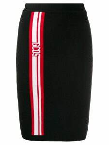 Gcds fitted logo stripe skirt - Black