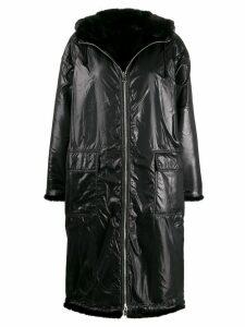 STAND STUDIO lined zip front coat - Black
