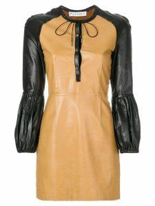 JW Anderson colour-block mini leather dress - Brown