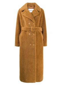 STAND STUDIO double-breasted faux-fur coat - Brown