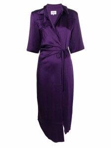 Nanushka Lais satin draped shirt dress - Purple