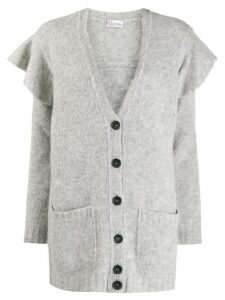 Red Valentino ruffle details cardigan - Grey