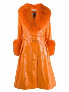 Saks Potts Foxy lined wet look coat - Orange