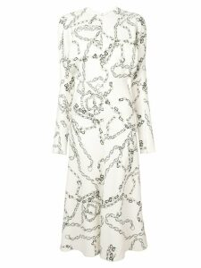 Victoria Beckham chain print shirt dress - White