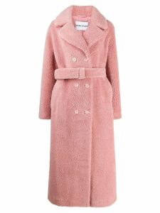 STAND STUDIO double-breasted faux-shearling coat - Pink