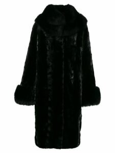 Saks Potts single breasted fur coat - Black