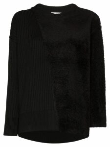 Hyke Commando shearling-panelled jumper - Black