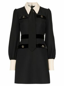 Gucci Shirt and tie wool dress - Black