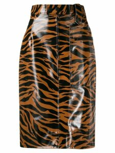 Kwaidan Editions tiger print high-waisted skirt - NEUTRALS