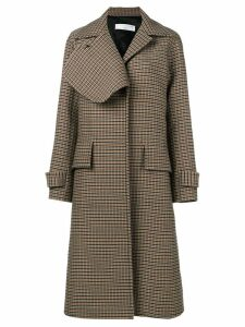 Victoria Beckham check flap lapel coat - Black