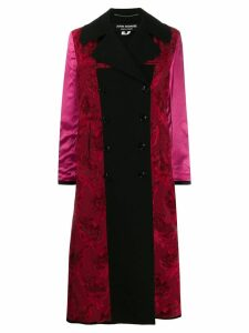 Junya Watanabe mix fabric double-breasted coat - Black