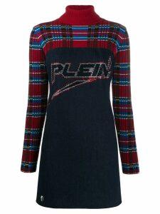 Philipp Plein tartan print mini dress - Blue