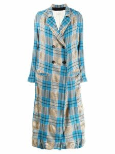 Forte Forte check unlined maxi coat - Blue