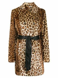 LIU JO leopard-print double-breasted coat - Neutrals