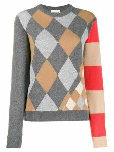 Semicouture Argyle intarsia sweater - Grey