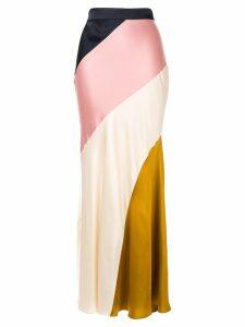 Layeur diagonal colour block skirt - Gold