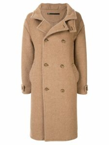 Muller Of Yoshiokubo double breasted wool coat - Brown