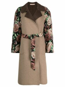 Ermanno Gallamini floral embroidery midi coat - Brown