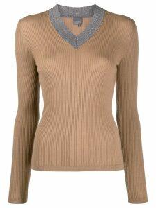 Lorena Antoniazzi glittered v-neck jumper - Brown