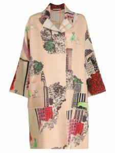 Ermanno Gallamini patchwork open front coat - Neutrals