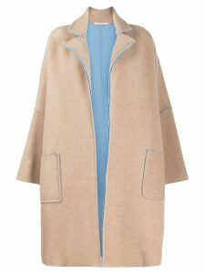 Ermanno Gallamini Abric oversized coat - Neutrals