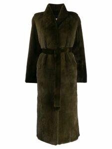Yves Salomon belted coat - Green