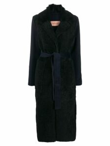 Yves Salomon textured trench coat - Blue