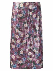 Erdem floral sequined skirt - Purple