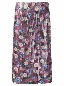 Erdem floral sequined skirt - PURPLE