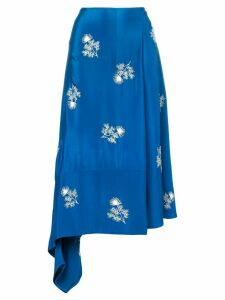 Erdem floral-embroidered wrap skirt - Blue