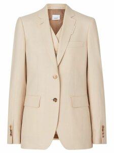 Burberry Waistcoat Detail Mohair Silk Blend Blazer - Neutrals
