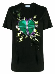 Prada heart print T-shirt - Black