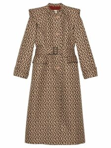 Gucci G rhombus belted trench coat - Brown