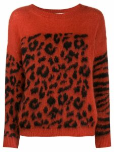 Essentiel Antwerp patternn-mix crew-neck jumper - Orange