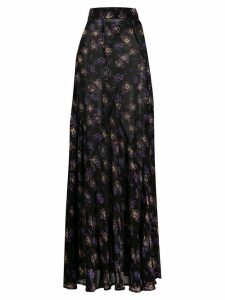 GANNI long floral skirt - Black