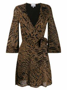 Ganni tiger print wrap dress - Brown