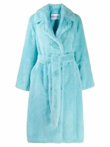 Stand faux fur midi coat - Blue