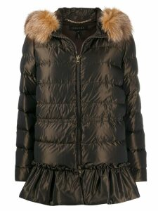 Escada ruffled hem coat - Brown
