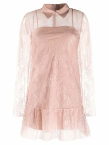 Red Valentino lace overlay collared dress - Pink