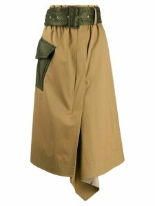 Sacai belted midi-skirt - Neutrals