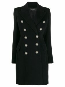 Balmain embossed buttons coat - Black