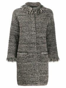 D.Exterior herringbone fringed coat - Black