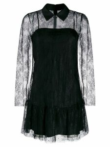 Red Valentino lace overlay collared dress - Black