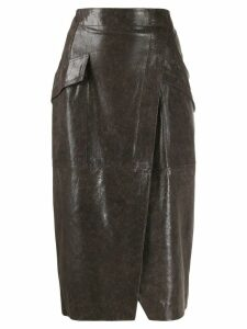 Lorena Antoniazzi leather pencil skirt - Grey