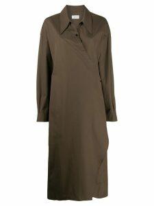Lemaire wrap front shirt dress - Green