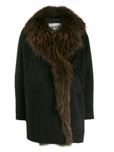 S.W.O.R.D 6.6.44 fur trimmed cocoon coat - Black